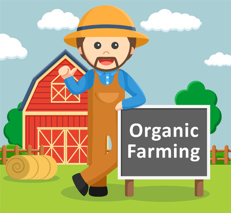 country farms: man in front of barn with organic farm Illustration