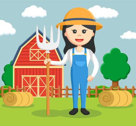 barnhouse: woman barn  illustration design
