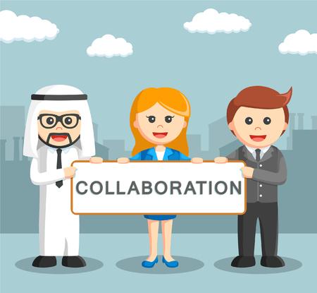 business sign: international business holding collaboration sign Illustration
