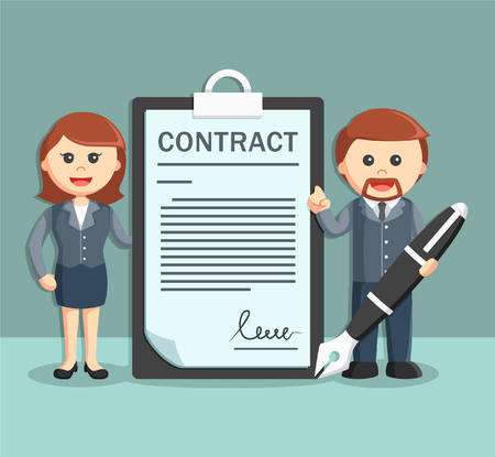 adviser: businessman and businesswoman with contract paper and holding pen