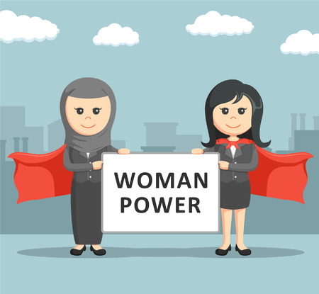 intimidating: two business women super holding a woman super board