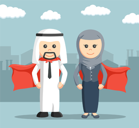 heros: businessman super and businesswoman super of arab Illustration