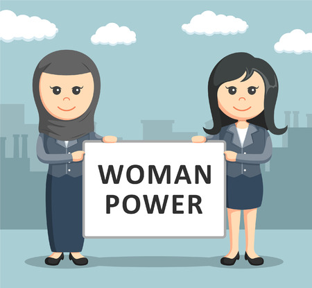 holding sign: two businesswoman holding a woman power board