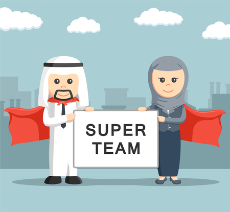 happy woman: Businessman and businesswoman of arab holding super team board Illustration