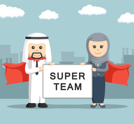 mulher: Empresário e empresária de bordo super time segurando árabe