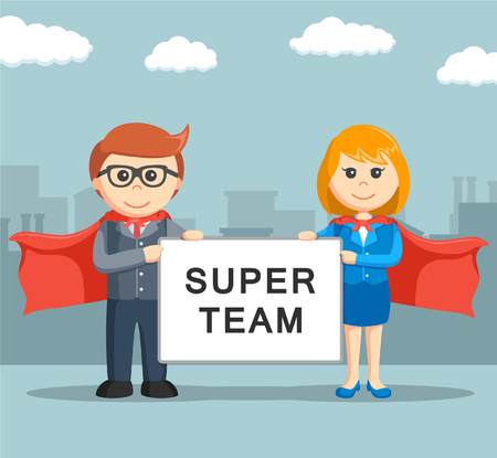 heros: businessman and businesswoman holding super team board