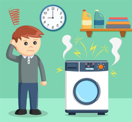 Een man was verdrietig omdat haar wasmachine kapot Stock Illustratie