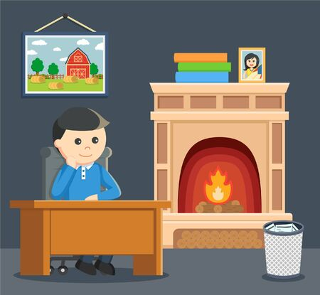 see: a man sitting on seat and see fireplace