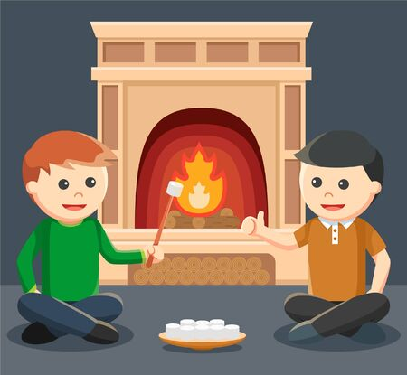 roasting: two men roasting marshmallow in front of the fireplace Illustration