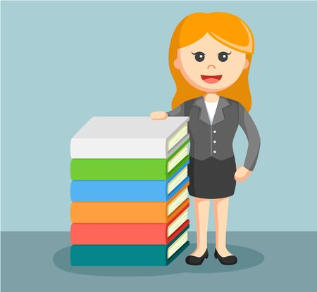 beside: a businesswoman stand beside stack of book