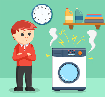 hand washing: a boy angry when the washing machine is broke