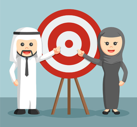 moderate: businessman and businesswoman of arab moderate pointing target Illustration