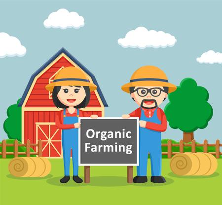 farmer sign: farmer man and farmer woman holding organic farming sign board