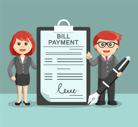 bill payment: businessman and businesswoman stand beside with bill payment document
