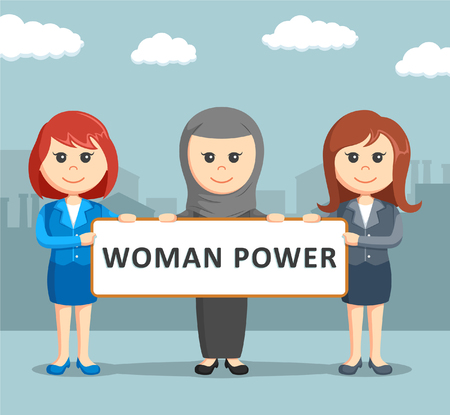 woman fist: three female businesswoman was holding the woman power board