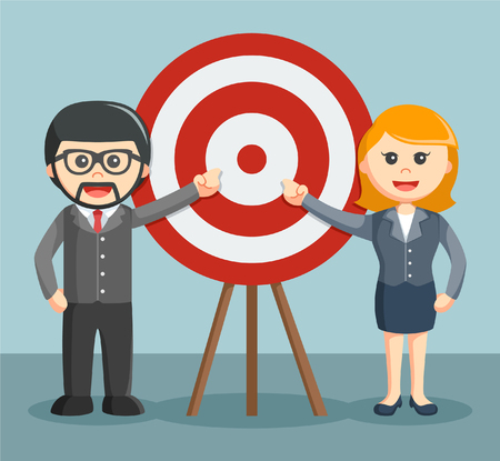 moderate: a businessman and businesswoman moderate pointing target Illustration
