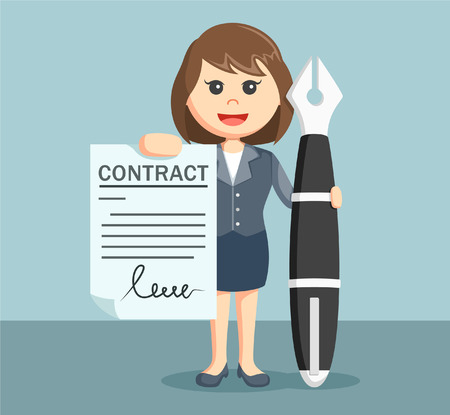 signing document: Businesswoman showing contract