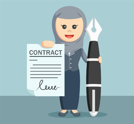 autographing: Arab businesswoman showing contract signature