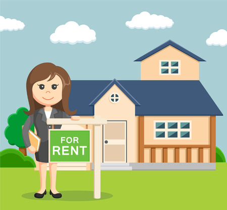 house for rent: business woman give a sign if his house for rent Illustration