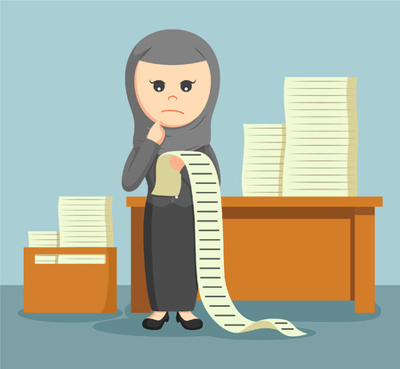 sway: arab businesswoman confused with a list of all the tasks assigned to him