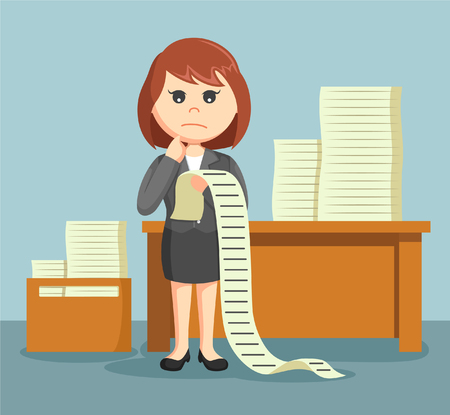 sway: businesswoman confused with a list of all the tasks assigned to him Illustration