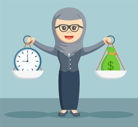business money: arab businesswoman balance between time and work