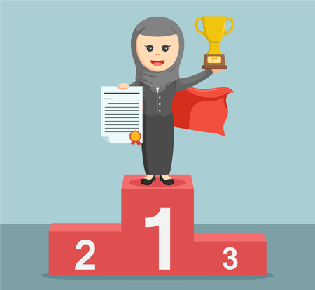 businesswoman standing: Super arab businesswoman standing on the podium and holding a trophy