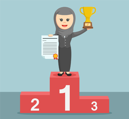 businesswoman standing: arab businesswoman standing on the podium and holding a trophy Illustration