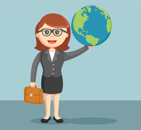 hands holding globe: a businesswoman holding the globe in his hands Illustration