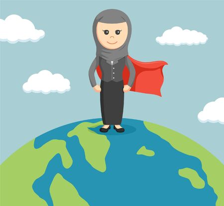 businesswoman standing: An arab businesswoman standing on a globe with super powers Illustration