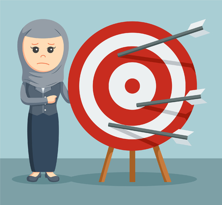 failed strategy: a arab businesswoman sad because no one of his arrows are on target