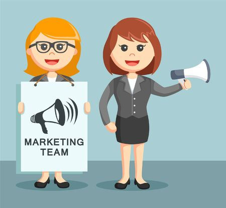 marketing team: two businesswoman work together as a marketing team