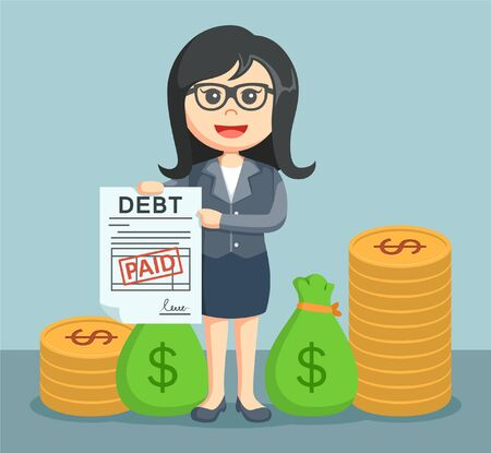 financial burden: businesswoman addressing the debt has been paid Illustration
