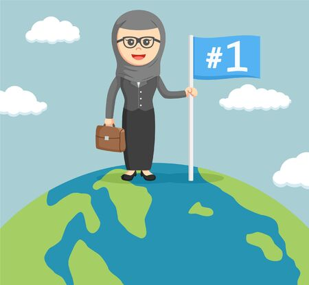 businesswoman standing: a arab businesswoman standing in the world while holding a flag Illustration