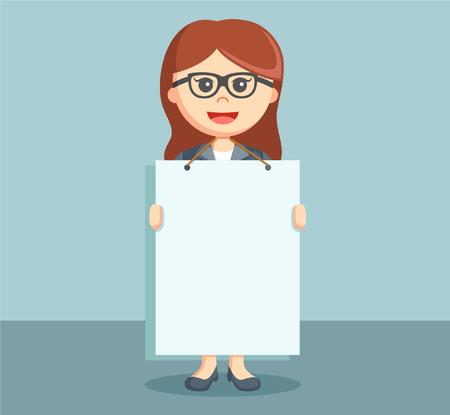 advertising board: businesswoman holding advertising board