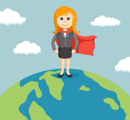 businesswoman standing: businesswoman standing on a globe with super powers
