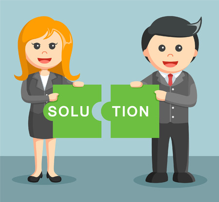 combining: businessman and businesswoman combining two puzzle solution