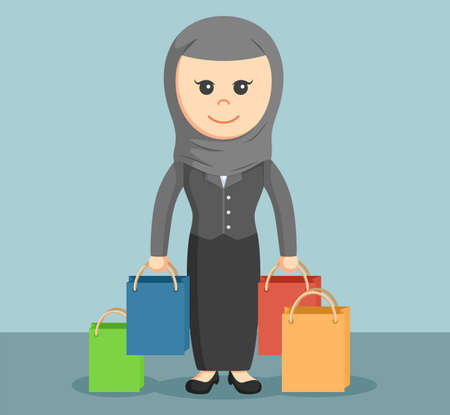 carrying: arab businesswoman carrying shopping bags Illustration