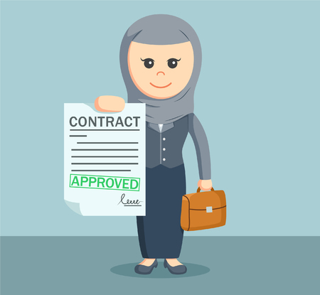 arab businesswoman with approved car insurance Illustration