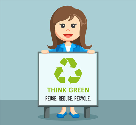 environmental suit: businesswoman with recycle board Illustration