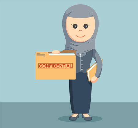 femmes muslim: affaires arab avec le dossier de dossier confidentiel