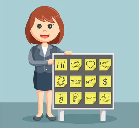 memo pad: businesswoman with post notes board Illustration