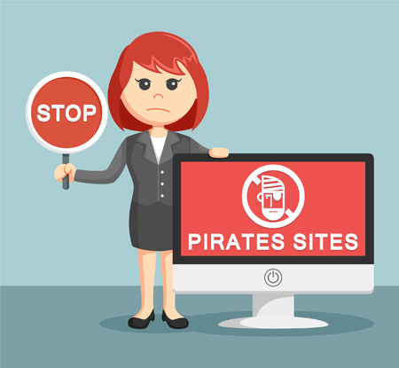 deathly: businesswoman with pirates sites monitor Illustration