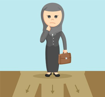 choose a path: arab businesswoman confused to choose path