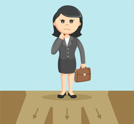 choose a path: businesswoman confused to choose path Illustration