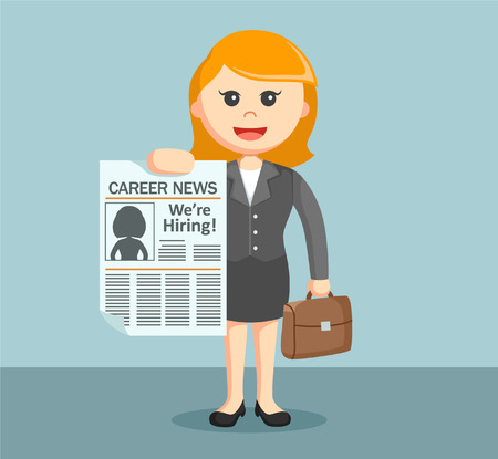 businesswoman with career newspaper Illustration