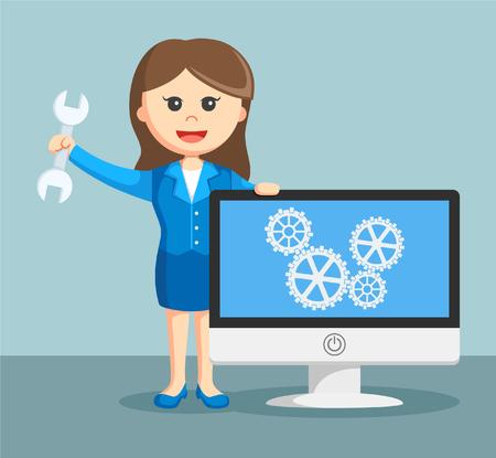 businesswoman with maintenance monitor Illustration