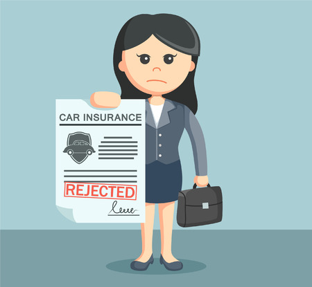 rejected: businesswoman with rejected car insurance