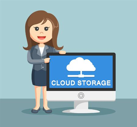 availability: businesswoman with cloud storage monitor