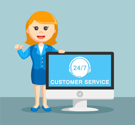 call centre girl: businesswoman with customer service monitor Illustration